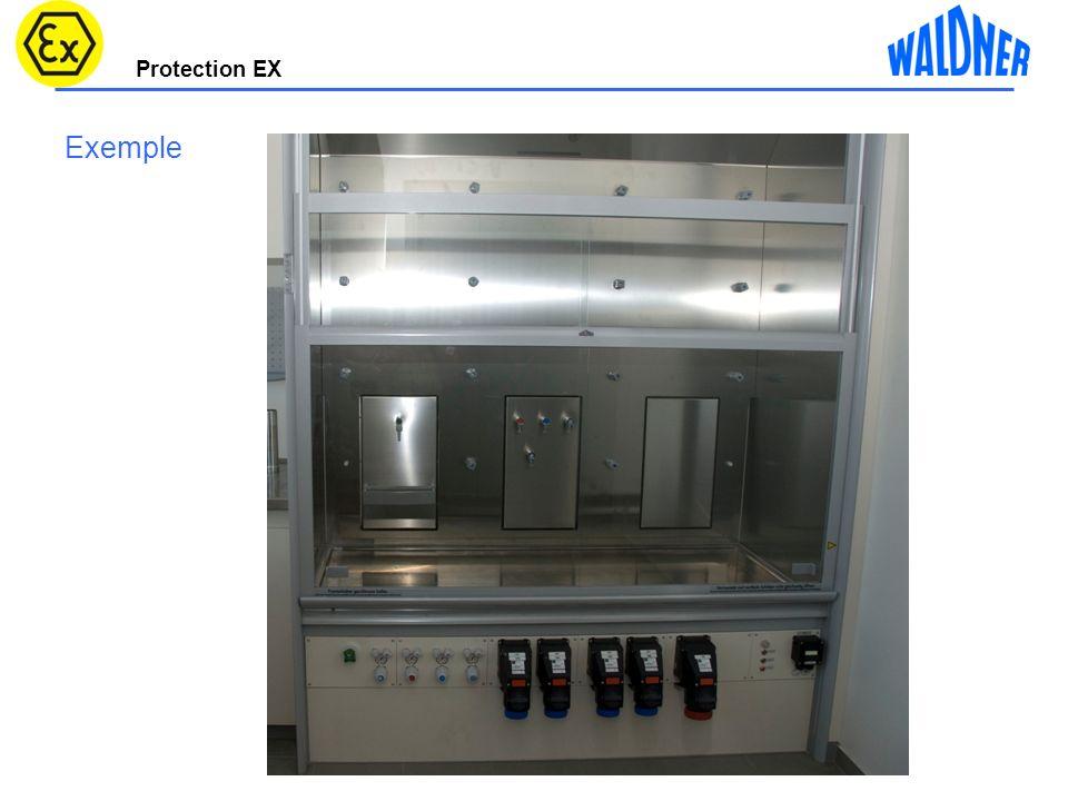 Protection EX 16 Caisson dextraction sorbonne sur table 2100mm Vitesses de circulation Vers aspiration partie basse 550m³/h 4m/s 1100³m/h 6,5m/s 50m³/h 11m/s Materiau PP conductibilité électrostatique <10 9 Volet de com.