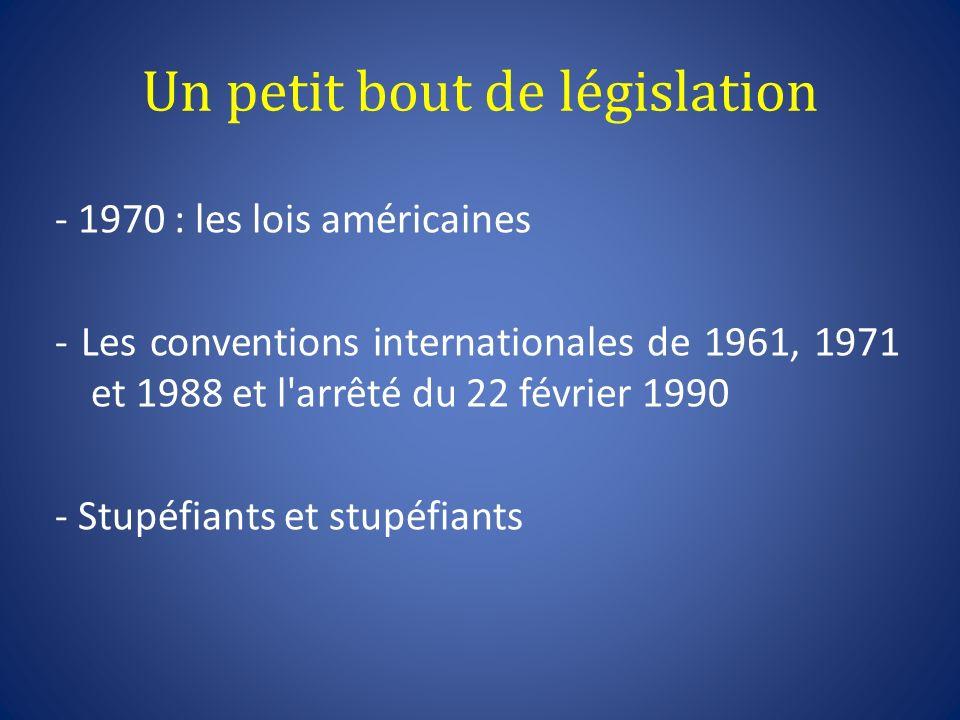 Un petit bout de législation - 1970 : les lois américaines - Les conventions internationales de 1961, 1971 et 1988 et l'arrêté du 22 février 1990 - St