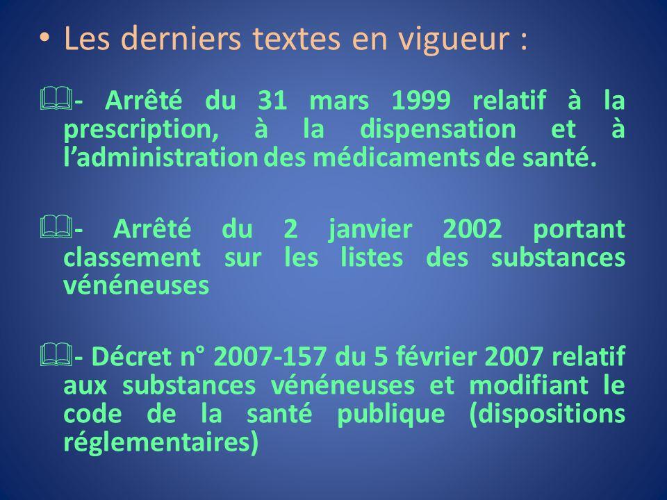 Les derniers textes en vigueur : - Arrêté du 31 mars 1999 relatif à la prescription, à la dispensation et à ladministration des médicaments de santé.
