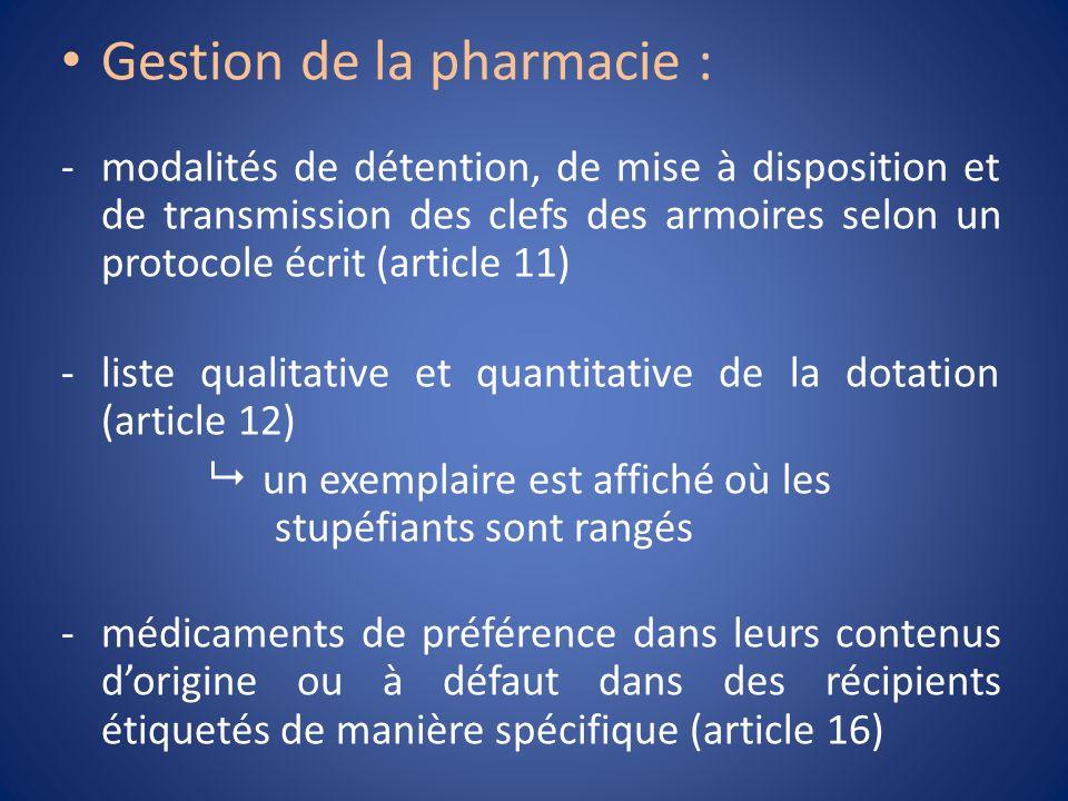 Gestion de la pharmacie : -modalités de détention, de mise à disposition et de transmission des clefs des armoires selon un protocole écrit (article 1