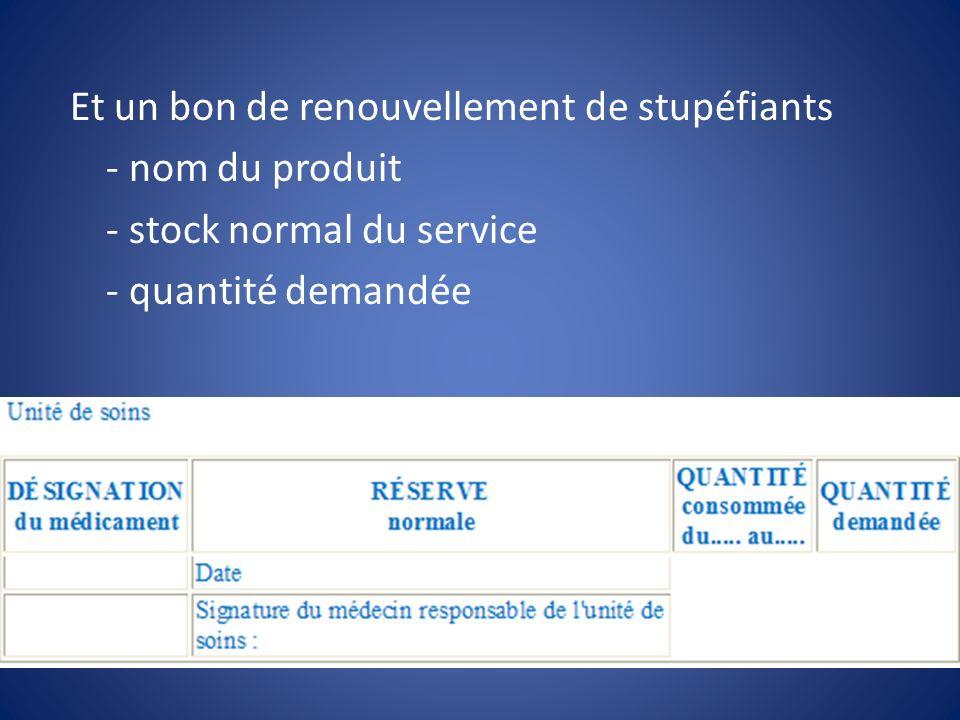 Et un bon de renouvellement de stupéfiants - nom du produit - stock normal du service - quantité demandée
