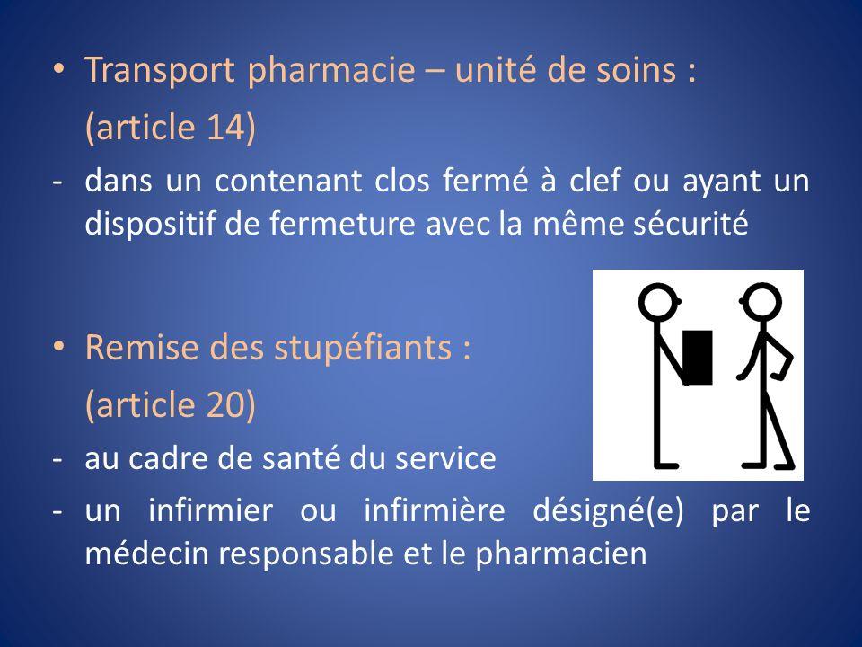 Transport pharmacie – unité de soins : (article 14) -dans un contenant clos fermé à clef ou ayant un dispositif de fermeture avec la même sécurité Rem
