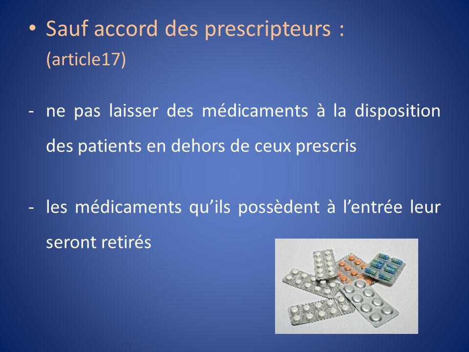 Sauf accord des prescripteurs : (article17) -ne pas laisser des médicaments à la disposition des patients en dehors de ceux prescris -les médicaments