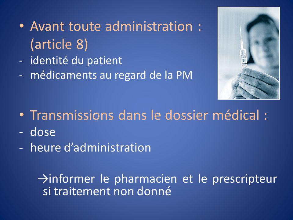 Avant toute administration : (article 8) -identité du patient -médicaments au regard de la PM Transmissions dans le dossier médical : -dose -heure dad