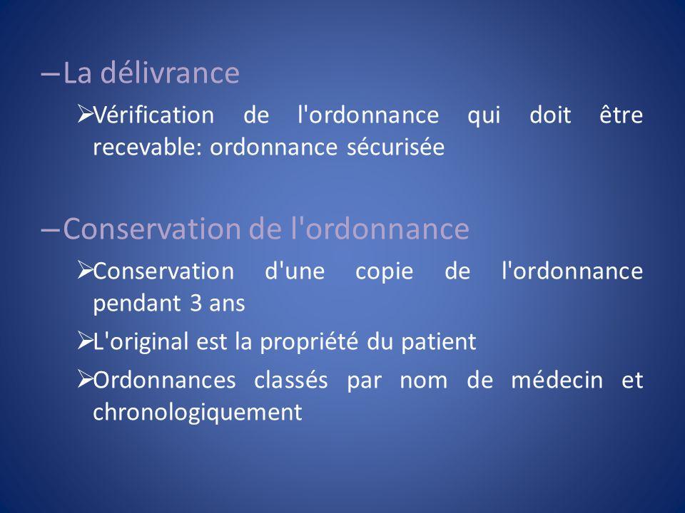 – La délivrance Vérification de l'ordonnance qui doit être recevable: ordonnance sécurisée – Conservation de l'ordonnance Conservation d'une copie de