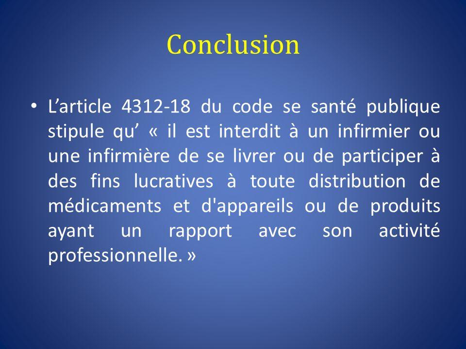 Conclusion Larticle 4312-18 du code se santé publique stipule qu « il est interdit à un infirmier ou une infirmière de se livrer ou de participer à de