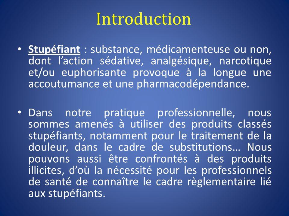 Introduction Stupéfiant : substance, médicamenteuse ou non, dont laction sédative, analgésique, narcotique et/ou euphorisante provoque à la longue une