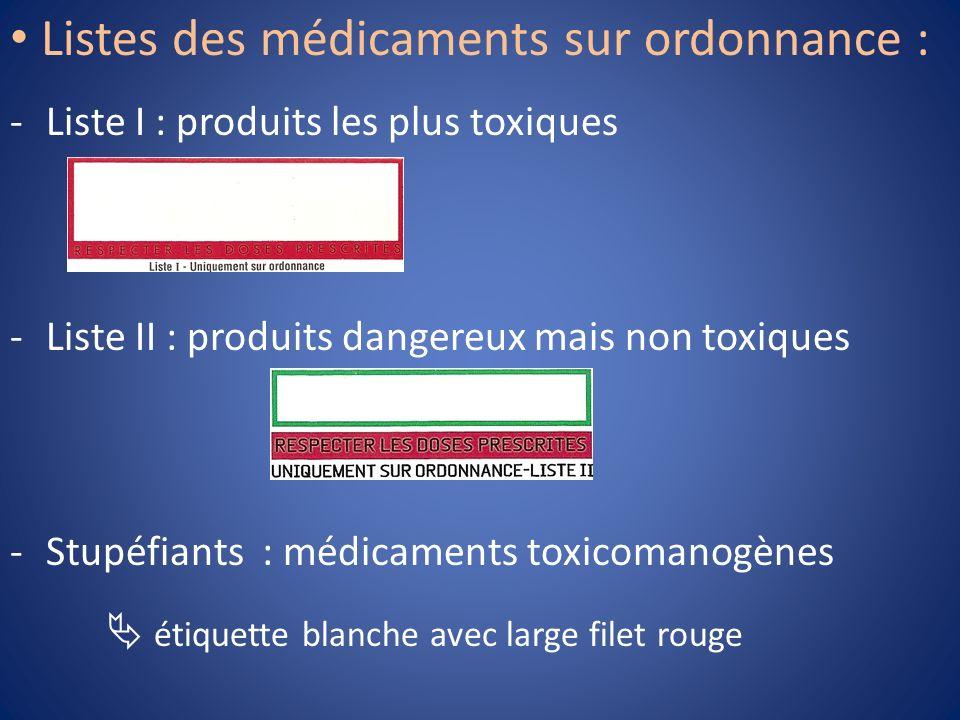 -Liste I : produits les plus toxiques -Liste II : produits dangereux mais non toxiques -Stupéfiants : médicaments toxicomanogènes étiquette blanche av