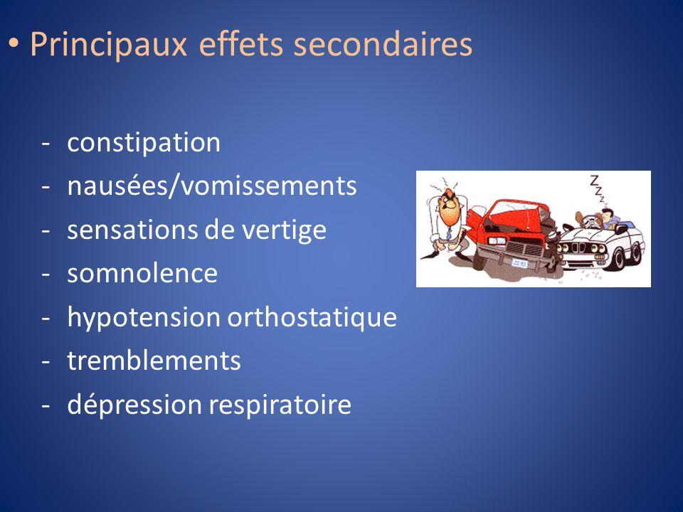 Principaux effets secondaires -constipation -nausées/vomissements -sensations de vertige -somnolence -hypotension orthostatique -tremblements -dépress