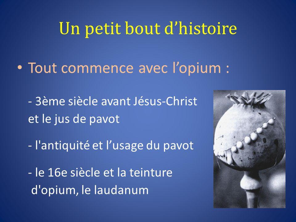 Un petit bout dhistoire Tout commence avec lopium : - 3ème siècle avant Jésus-Christ et le jus de pavot - l'antiquité et lusage du pavot - le 16e sièc