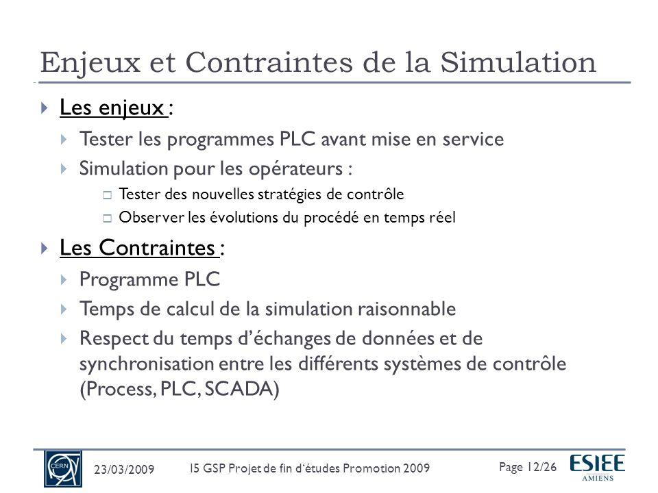 Différents outils communiquant entre eux : Développement du modèle sous EcosimPro v4.4.0 Logique de contrôle via les Simulateurs PLC (Unity ou S7) Supervision avec un SCADA (Supervisory Control and Data Acquisition) : PVSS Utilisation du Standard UNICOS Utilisation dune communication OPC entre tous ces outils 23/03/2009 Page 13/26 I5 GSP Projet de fin détudes Promotion 2009 PROCOS (PROcess and COntrol Simulation) EcosimPro 4.4