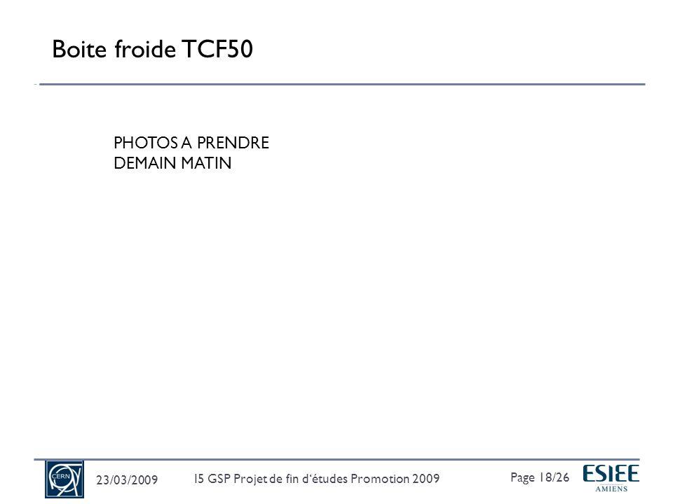 23/03/2009 Page 19/26 I5 GSP Projet de fin détudes Promotion 2009 Modèle de la Boite froide TCF50