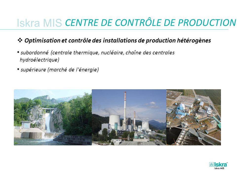 Iskra MIS CENTRE DE CONTRÔLE DE PRODUCTION Optimisation et contrôle des installations de production hétérogènes subordonné (centrale thermique, nucléaire, chaîne des centrales hydroélectrique) supérieure (marché de l énergie)