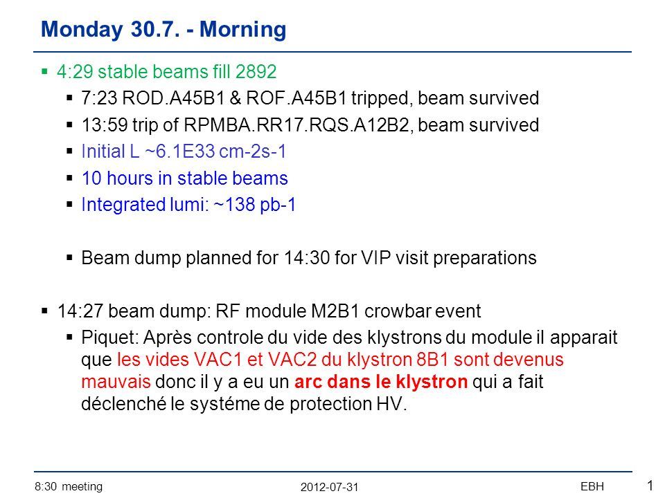 2012-07-31 8:30 meetingEBH 2 Accesses: Pt5: VIP visit Pt4: RF (diagnostics of beam dump) Atlas, Alice Pt8: cryo DFB Pt2: vacuum pump Pt4: fast BCT Sector 12: EPC change power module of RQS.A12B2 20:00 finished patrol in Pt5 – start pre-cycle Afternoon