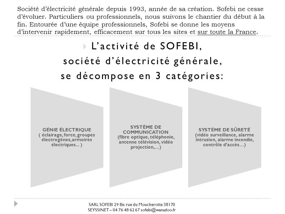 Société délectricité générale depuis 1993, année de sa création. Sofebi ne cesse dévoluer. Particuliers ou professionnels, nous suivons le chantier du