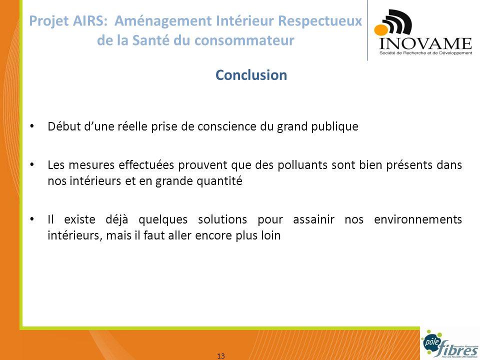 Votre logo 13 Conclusion Projet AIRS: Aménagement Intérieur Respectueux de la Santé du consommateur Début dune réelle prise de conscience du grand pub