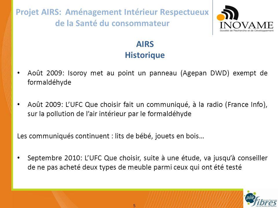 Votre logo Projet AIRS: Aménagement Intérieur Respectueux de la Santé du consommateur Août 2009: Isoroy met au point un panneau (Agepan DWD) exempt de