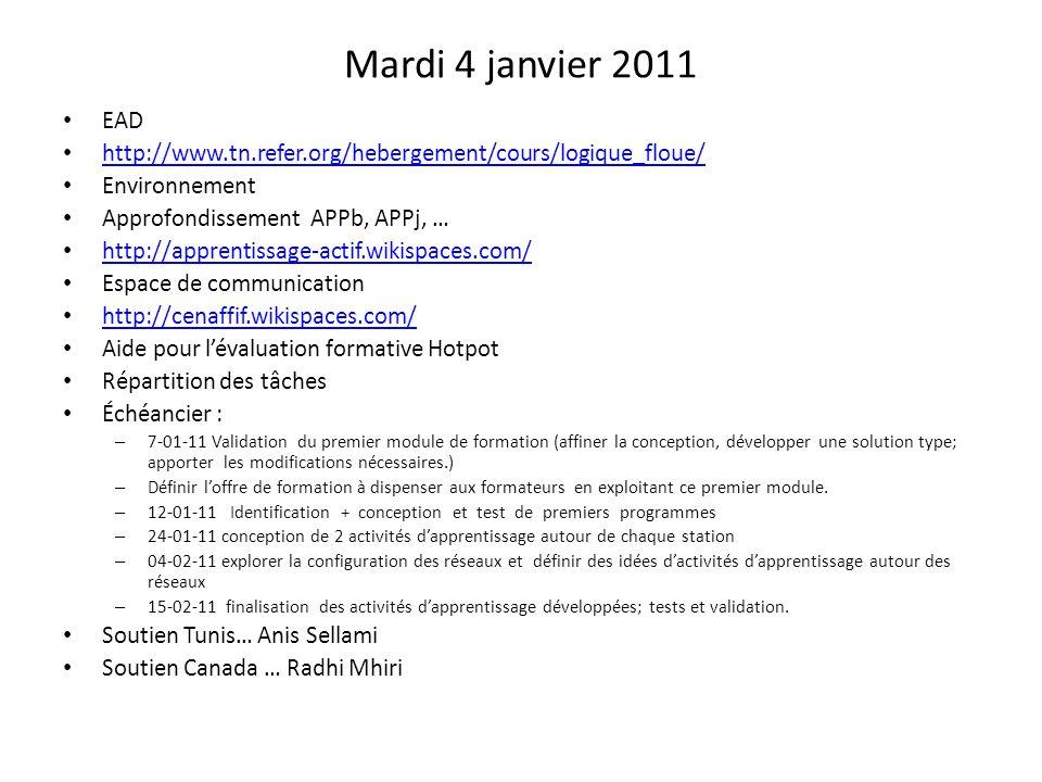 Mardi 4 janvier 2011 EAD http://www.tn.refer.org/hebergement/cours/logique_floue/ Environnement Approfondissement APPb, APPj, … http://apprentissage-a