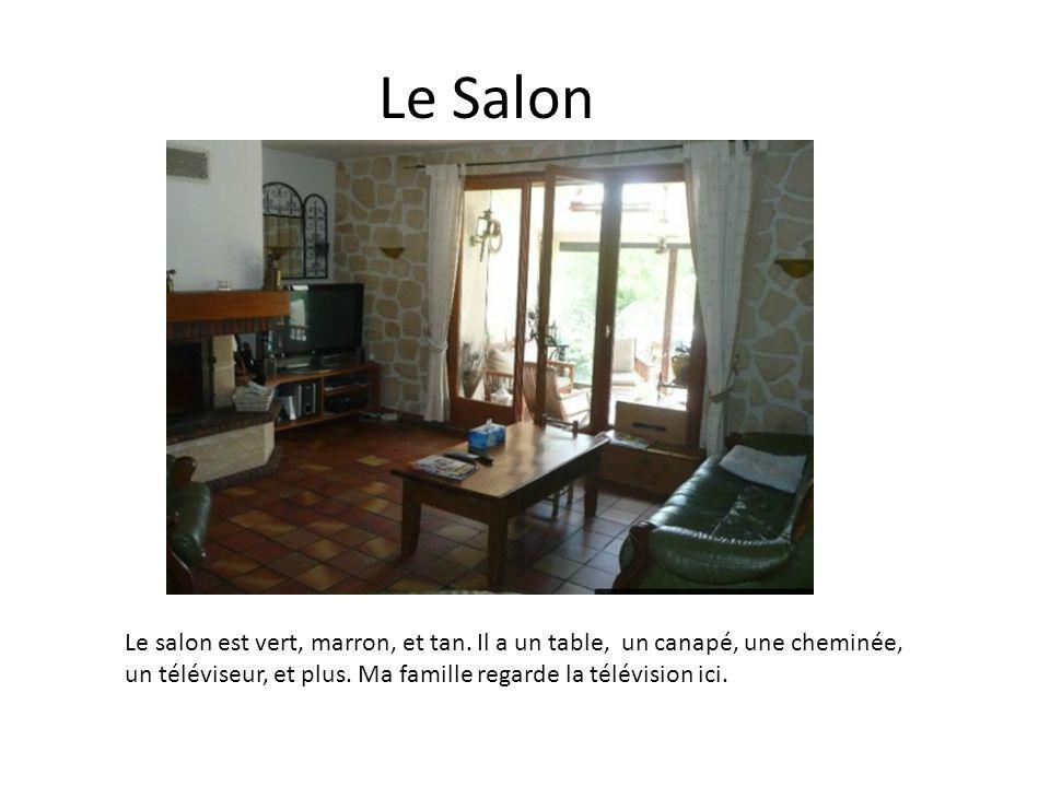 Le Salon Le salon est vert, marron, et tan. Il a un table, un canapé, une cheminée, un téléviseur, et plus. Ma famille regarde la télévision ici.