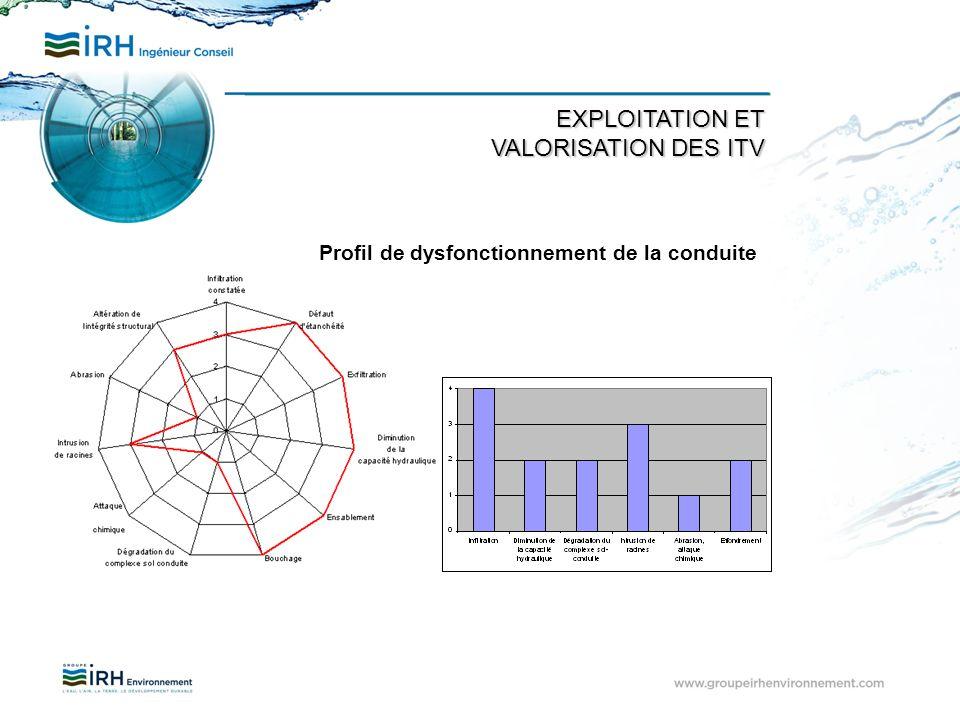 Profil de dysfonctionnement de la conduite EXPLOITATION ET VALORISATION DES ITV