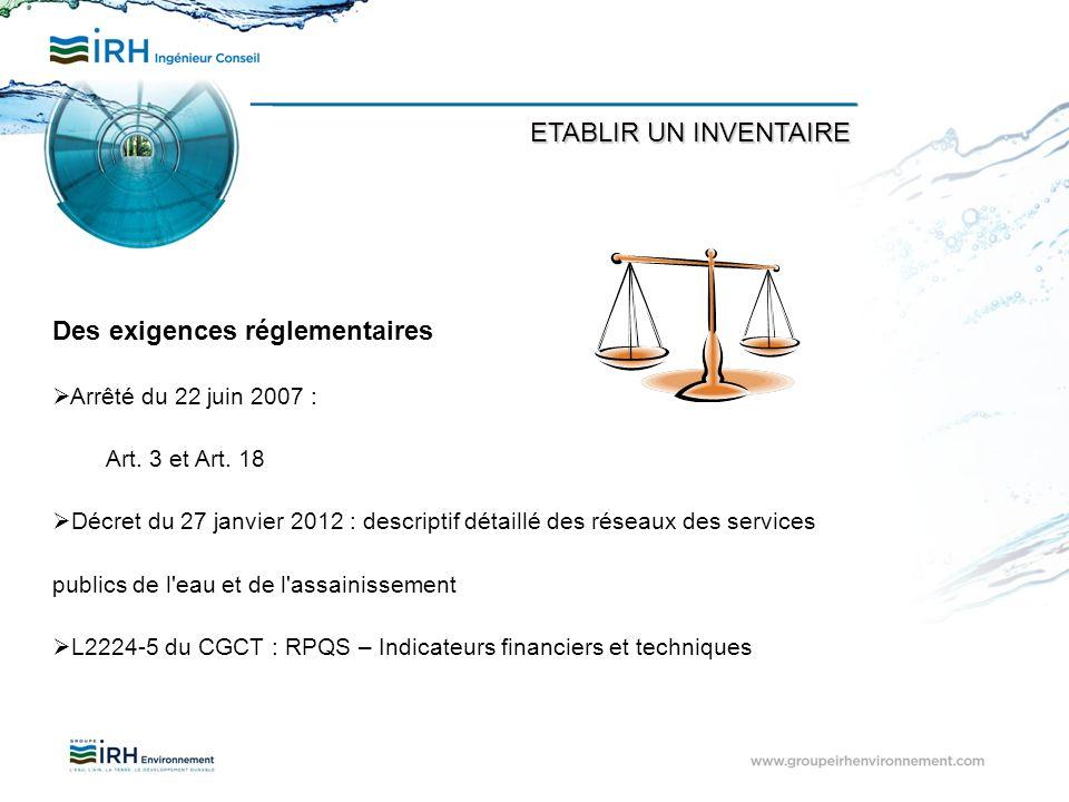Des exigences réglementaires Arrêté du 22 juin 2007 : Art. 3 et Art. 18 Décret du 27 janvier 2012 : descriptif détaillé des réseaux des services publi