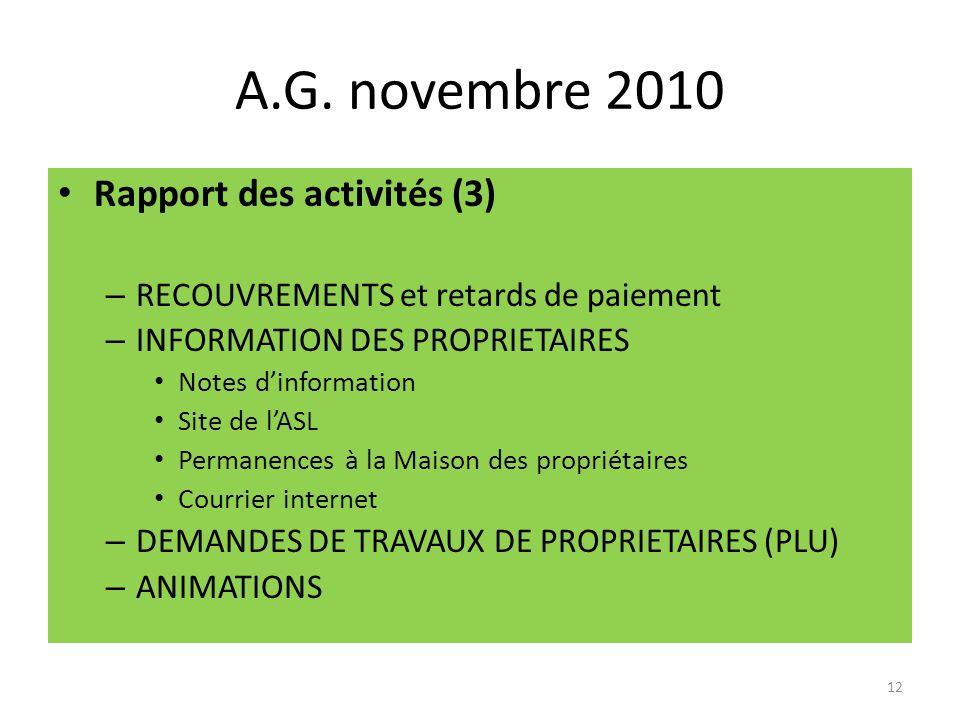 A.G. novembre 2010 Rapport des activités (3) – RECOUVREMENTS et retards de paiement – INFORMATION DES PROPRIETAIRES Notes dinformation Site de lASL Pe