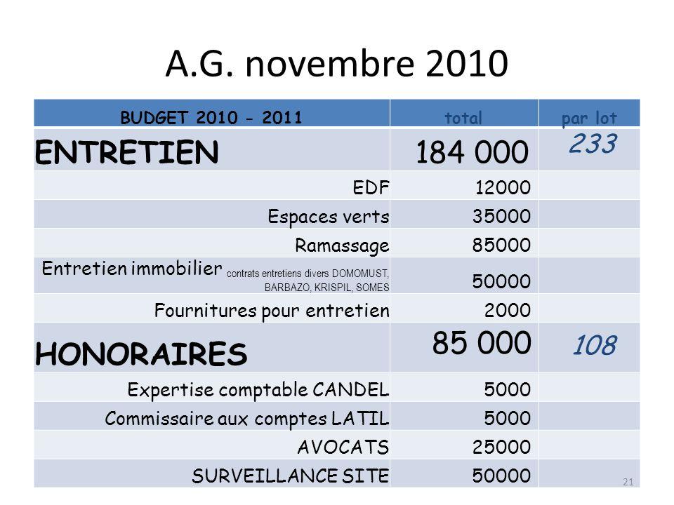 A.G. novembre 2010 BUDGET 2010 - 2011totalpar lot ENTRETIEN184 000 233 EDF12000 Espaces verts35000 Ramassage85000 Entretien immobilier contrats entret