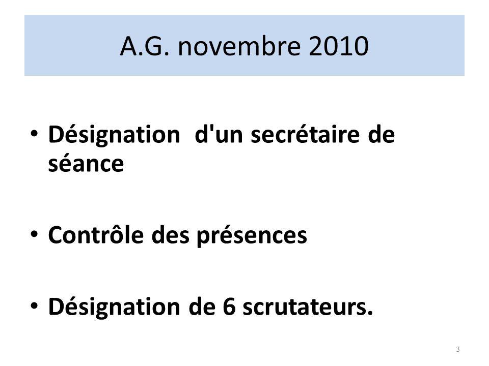 A.G. novembre 2010 Désignation d'un secrétaire de séance Contrôle des présences Désignation de 6 scrutateurs. 3