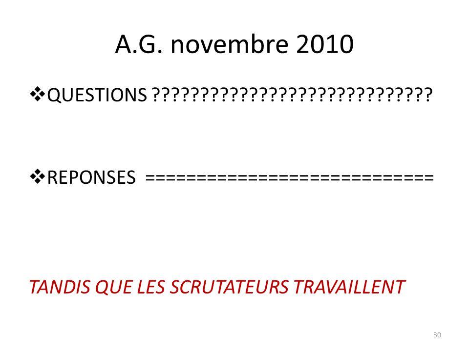A.G. novembre 2010 QUESTIONS ????????????????????????????? REPONSES ============================ TANDIS QUE LES SCRUTATEURS TRAVAILLENT 30
