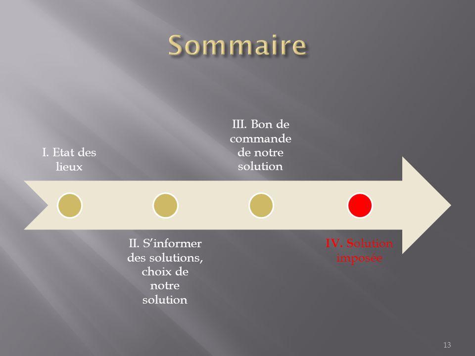 I.Etat des lieux II. Sinformer des solutions, choix de notre solution III.