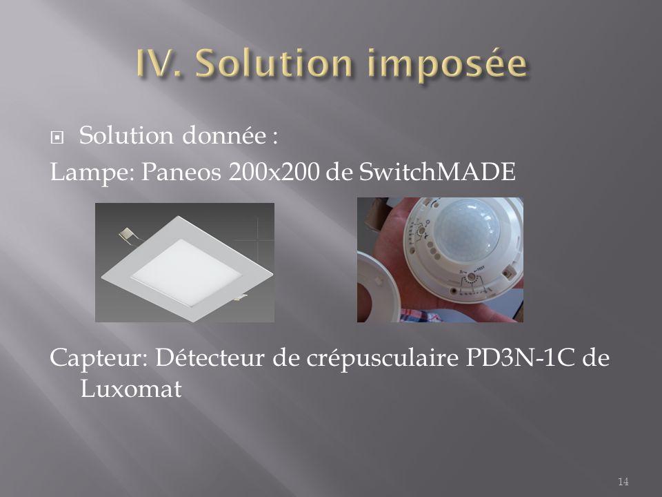 Solution donnée : Lampe: Paneos 200x200 de SwitchMADE Capteur: Détecteur de crépusculaire PD3N-1C de Luxomat 14
