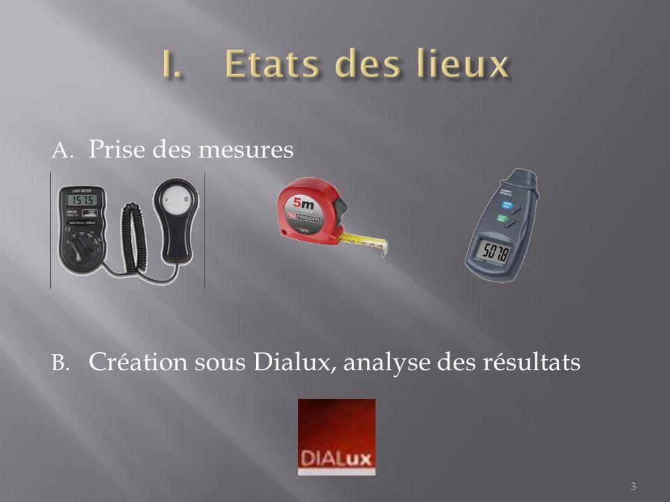 A. Prise des mesures B. Création sous Dialux, analyse des résultats 3