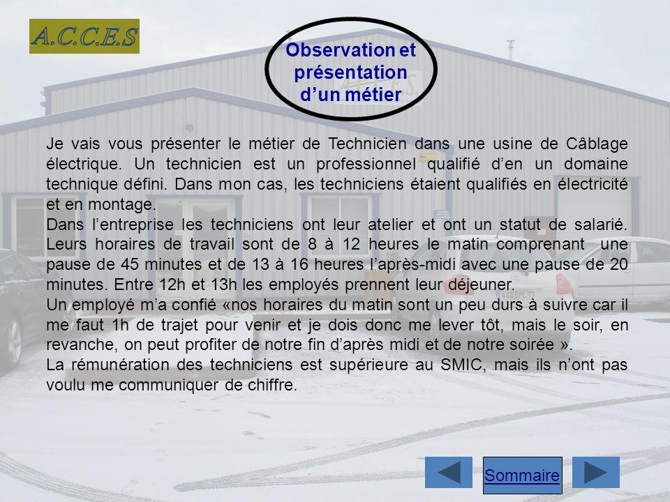 Observation et présentation dun métier Je vais vous présenter le métier de Technicien dans une usine de Câblage électrique.