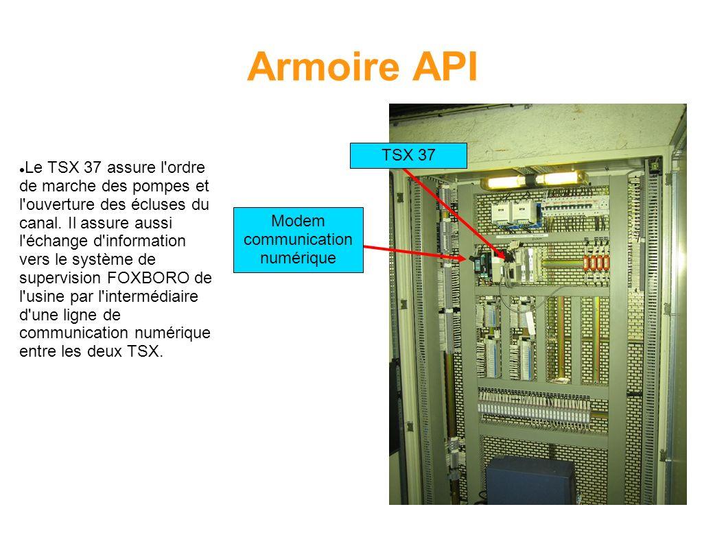 Armoire API TSX 37 Modem communication numérique Le TSX 37 assure l'ordre de marche des pompes et l'ouverture des écluses du canal. Il assure aussi l'