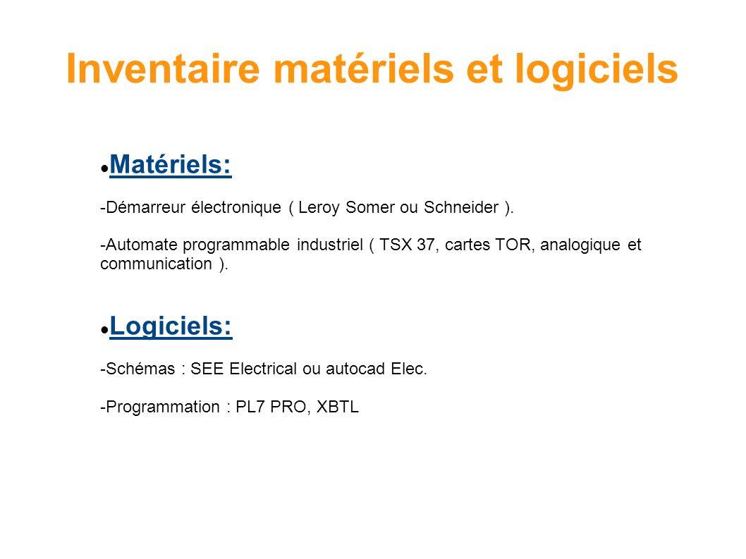Inventaire matériels et logiciels Matériels: -Démarreur électronique ( Leroy Somer ou Schneider ). -Automate programmable industriel ( TSX 37, cartes