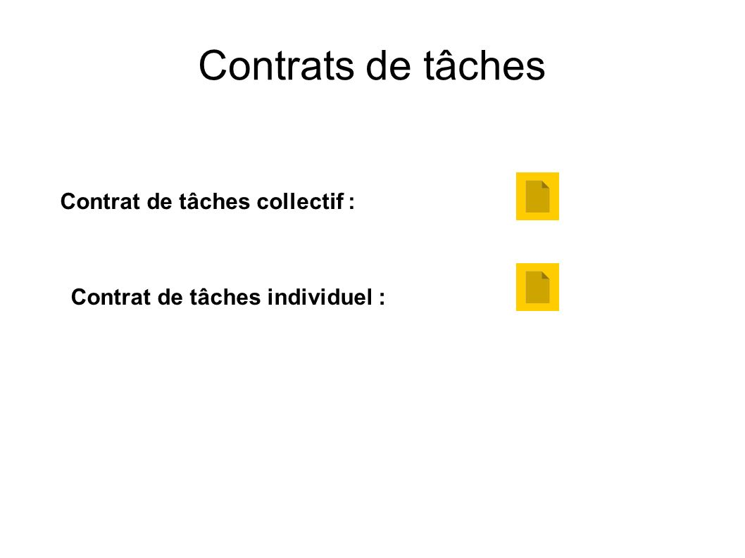 Contrats de tâches Contrat de tâches collectif : Contrat de tâches individuel :