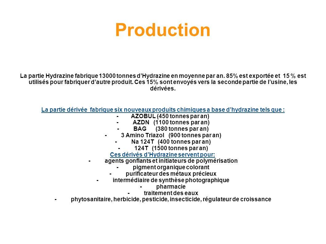 Production La partie Hydrazine fabrique 13000 tonnes dHydrazine en moyenne par an. 85% est exportée et 15 % est utilisés pour fabriquer dautre produit