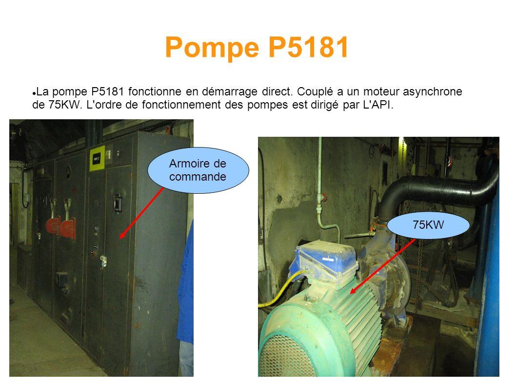 Pompe P5181 La pompe P5181 fonctionne en démarrage direct. Couplé a un moteur asynchrone de 75KW. L'ordre de fonctionnement des pompes est dirigé par