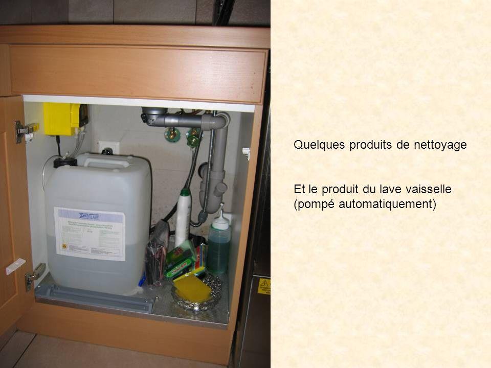 Quelques produits de nettoyage Et le produit du lave vaisselle (pompé automatiquement)