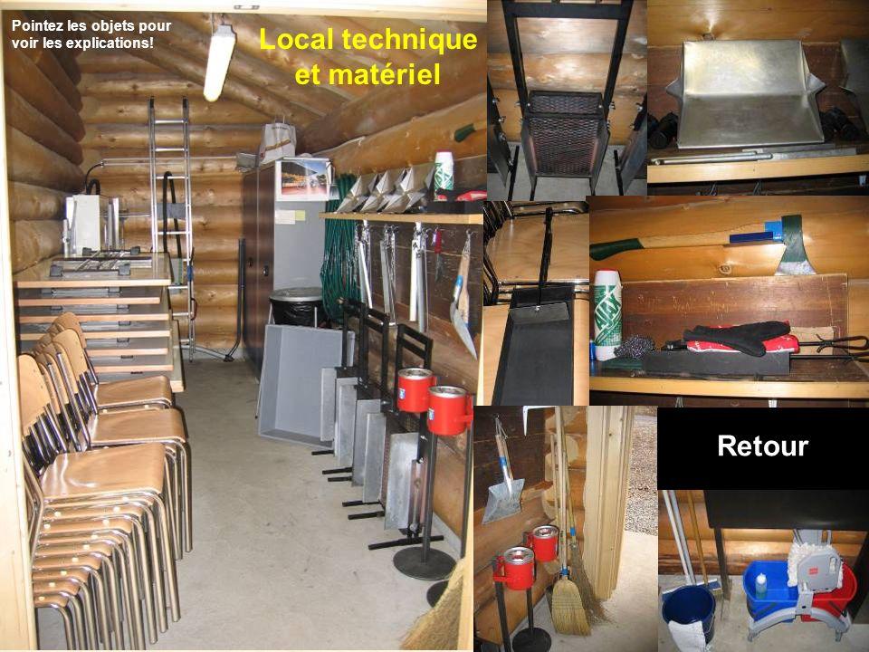 Local technique et matériel Retour Pointez les objets pour voir les explications!