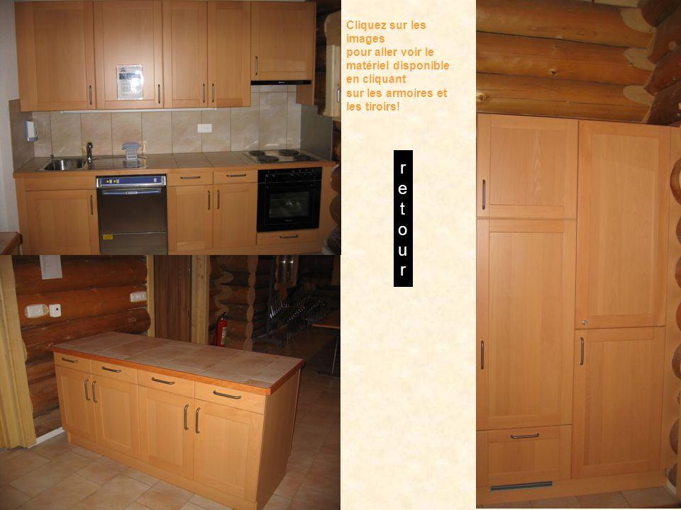 Cliquez sur les images pour aller voir le matériel disponible en cliquant sur les armoires et les tiroirs.