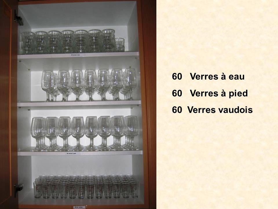 60 Verres à eau 60 Verres à pied 60 Verres vaudois