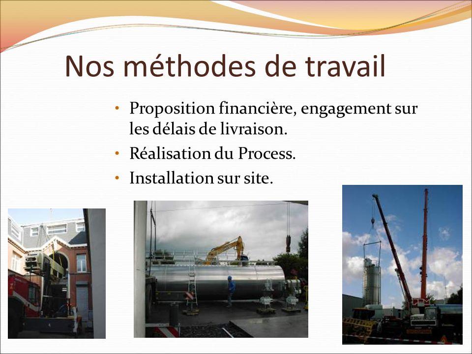 Nos méthodes de travail Proposition financière, engagement sur les délais de livraison. Réalisation du Process. Installation sur site.