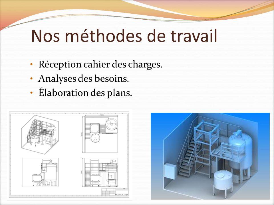 Nos méthodes de travail Réception cahier des charges. Analyses des besoins. Élaboration des plans.