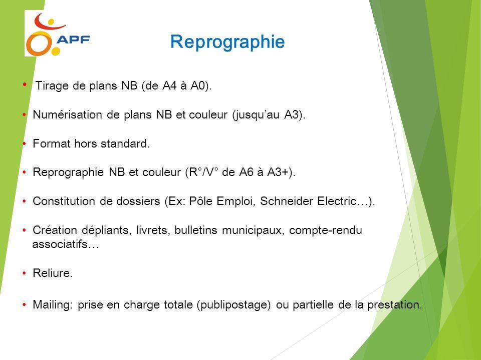 Tirage de plans NB (de A4 à A0). Numérisation de plans NB et couleur (jusquau A3). Format hors standard. Reprographie NB et couleur (R°/V° de A6 à A3+