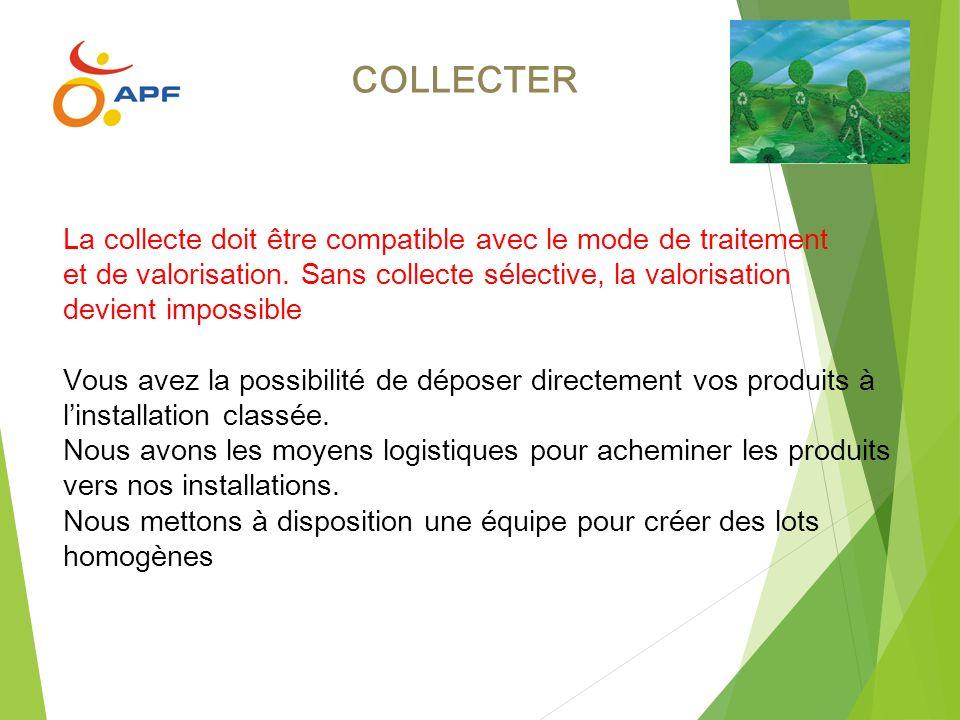 COLLECTER La collecte doit être compatible avec le mode de traitement et de valorisation. Sans collecte sélective, la valorisation devient impossible