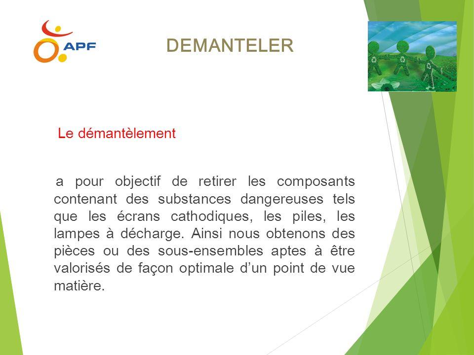 DEMANTELER Le démantèlement a pour objectif de retirer les composants contenant des substances dangereuses tels que les écrans cathodiques, les piles,