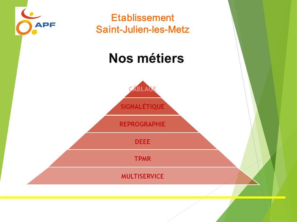 Etablissement Saint-Julien-les-Metz Nos métiers CÂBLAGE SIGNALÉTIQUE REPROGRAPHIE DEEE TPMR MULTISERVICE