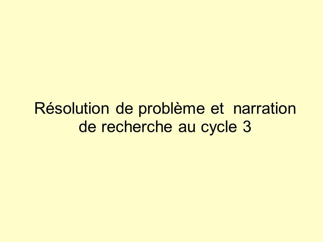 Résolution de problème et narration de recherche au cycle 3