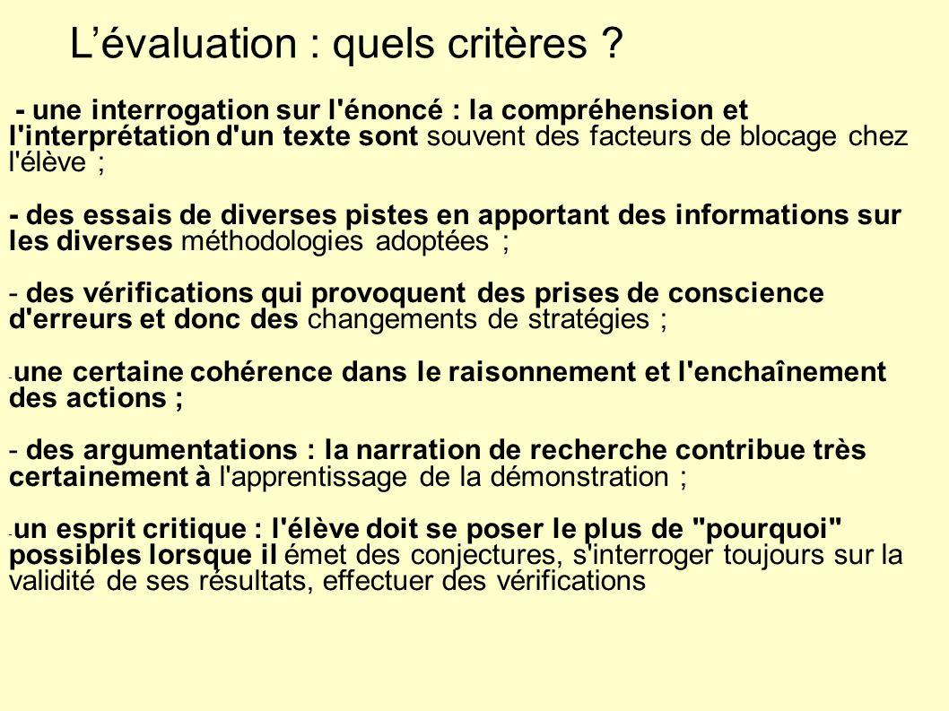 Lévaluation : quels critères .